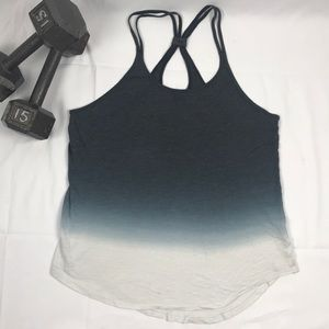 Fade dark grey to white cool back tank
